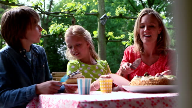 family birthday celebration with cake in garden - birthday cake stock videos and b-roll footage