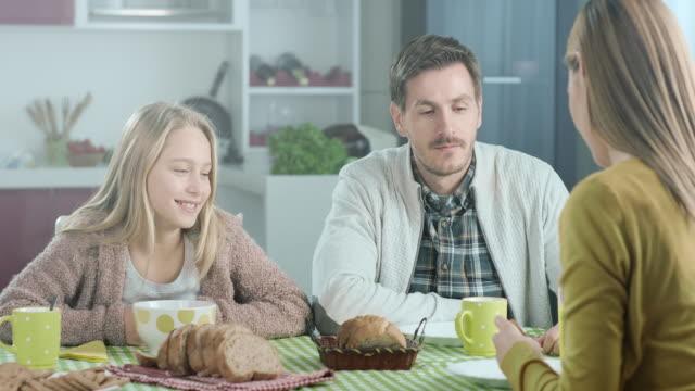 family breakfast - bagel stock videos & royalty-free footage