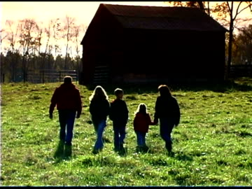 family by barn - five people stock videos & royalty-free footage