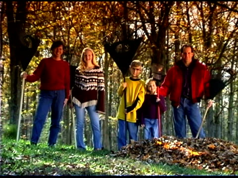 family by leaves - familie mit drei kindern stock-videos und b-roll-filmmaterial