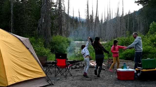 family camping and bonding in nature - cool box stock videos & royalty-free footage