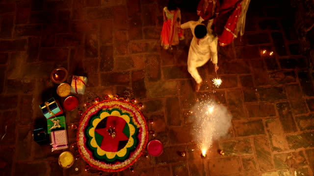 Family celebrating diwali festival, Delhi, India