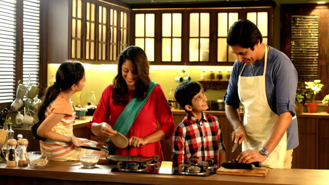 ms family cooking food in kitchen / delhi, india - indian ethnicity stock videos & royalty-free footage