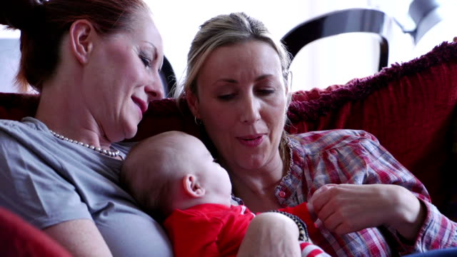 family cuddles - adoption stock videos and b-roll footage