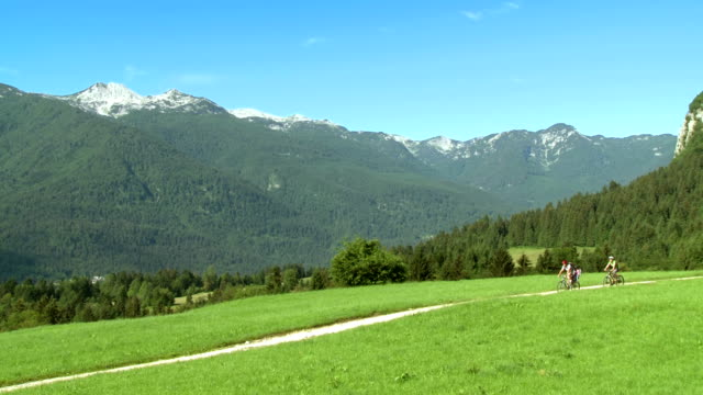 hd: family cycling along trail in julian alps - julian alps stock videos and b-roll footage