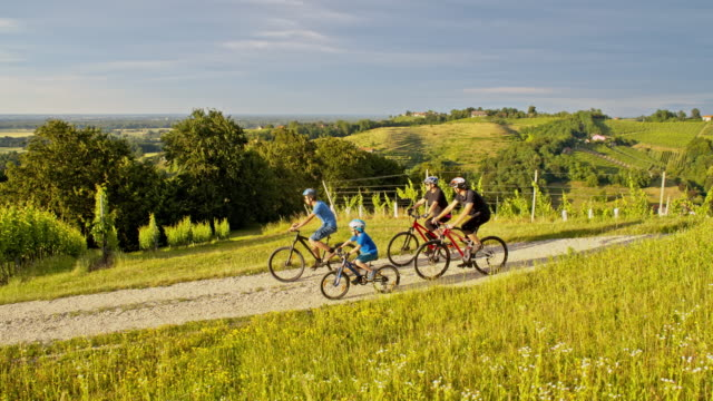 ws family cycling in countryside - rural scene stock videos & royalty-free footage