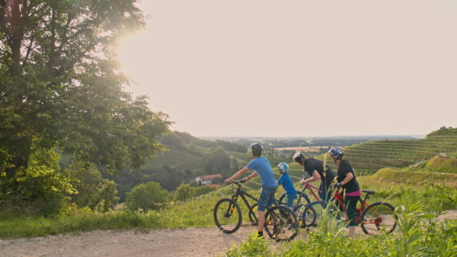 WS Family cycling in nature