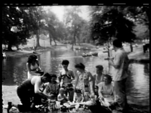 family day at a lake on july 05 1949 in new york new york - 1949 stock videos & royalty-free footage