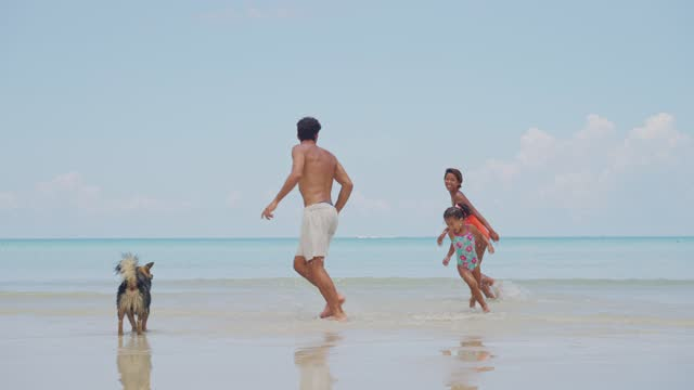 family day on the beach - tropical climate stock videos & royalty-free footage