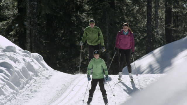 ms pan family doing cross country skiing in winter day / squamish, bc, canada   - längd bildbanksvideor och videomaterial från bakom kulisserna