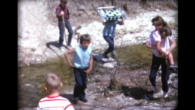 1965 family drives off in station wagon for hike - pedal pushers stock videos & royalty-free footage