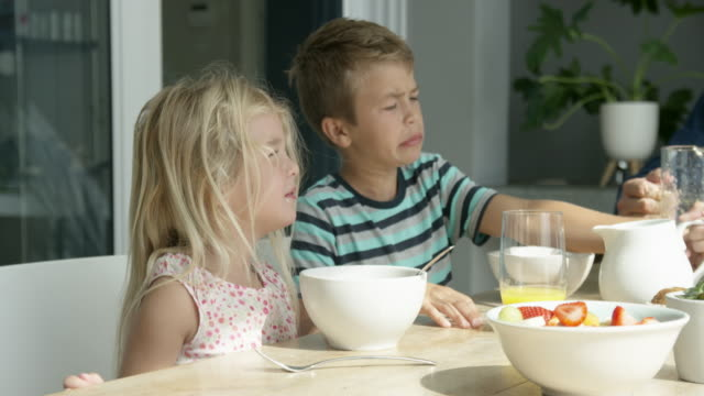 family eating breakfast - 45 49 anni video stock e b–roll