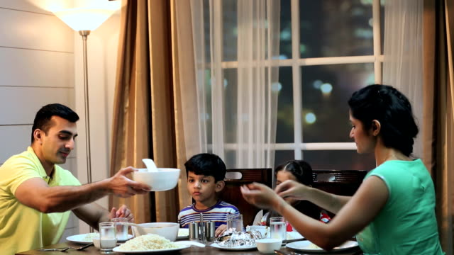 family eating dinner at home, delhi, india - evening meal stock videos & royalty-free footage