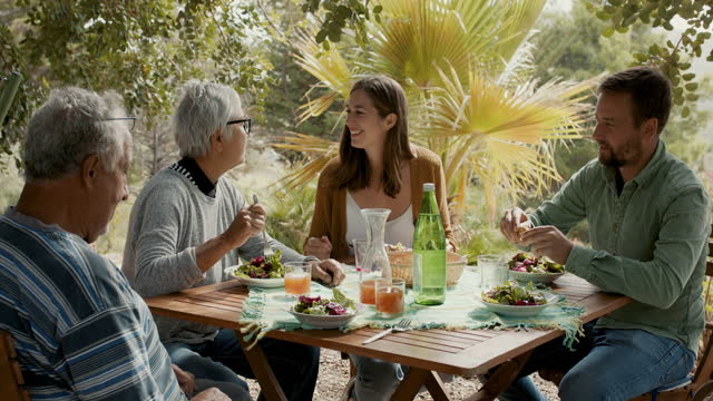 family eating lunch at table outside - lunch stock videos & royalty-free footage