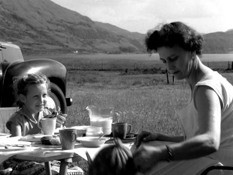 A family enjoy a picnic in the Scottish Highlands