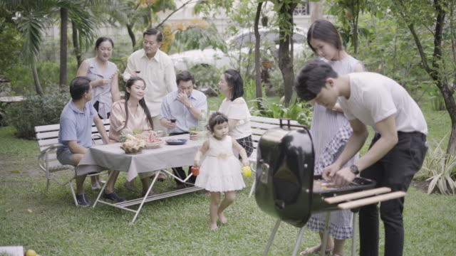 family enjoying barbecue in the garden. - outdoor pursuit stock videos & royalty-free footage