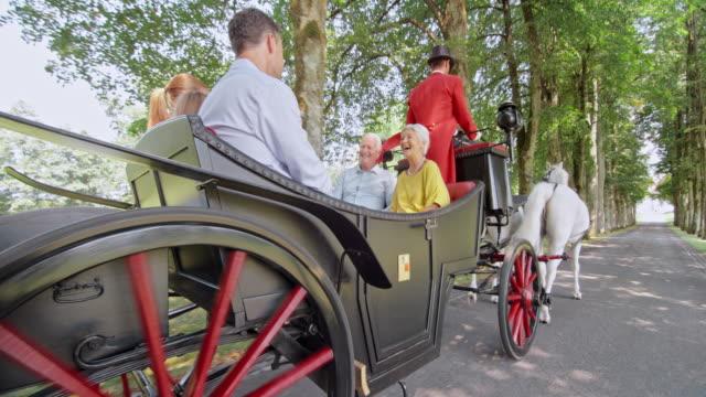 SLO MO TS familie genieten van paard en wagen rijden door park