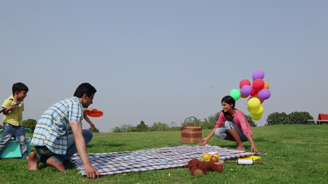 family enjoying in the park, delhi, india - picnic stock videos & royalty-free footage