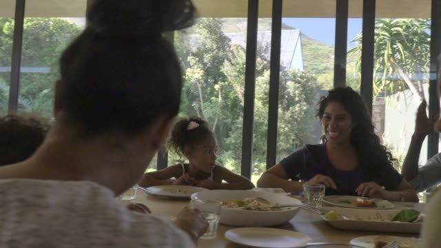 family enjoying lunch during reunion - multiracial group stock videos & royalty-free footage