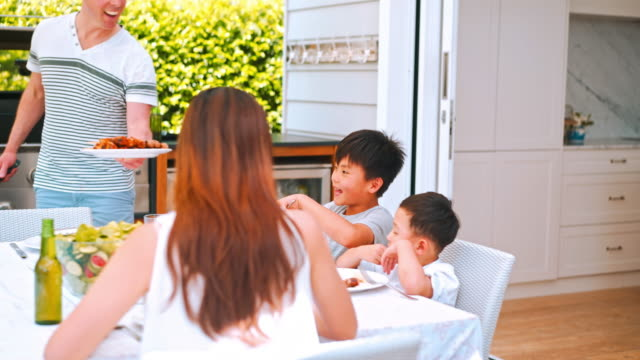 family enjoying lunch outdoors - meat stock videos & royalty-free footage