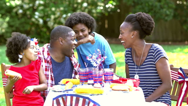 family enjoying memorial day or 4th of july picnic - picnic stock videos and b-roll footage