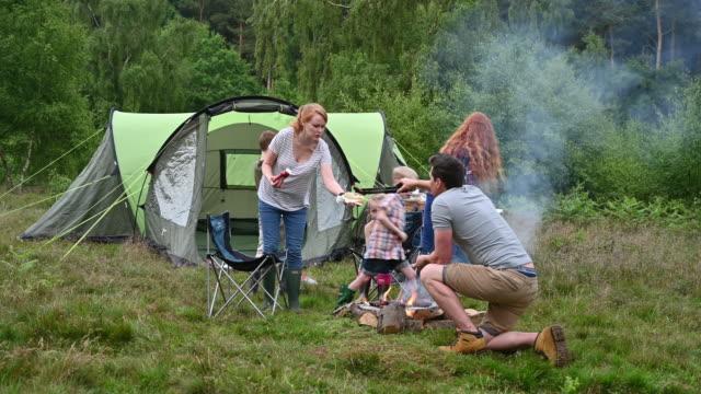 vídeos de stock e filmes b-roll de family enjoying outdoor cookout during weekend camping trip - família com quatro filhos