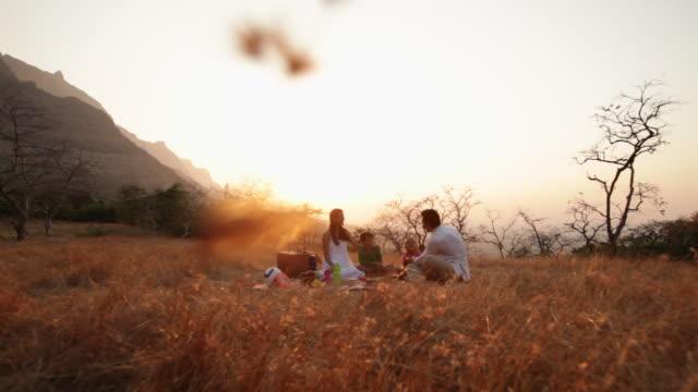 vídeos y material grabado en eventos de stock de family enjoying picnic at hill station - cesta de picnic