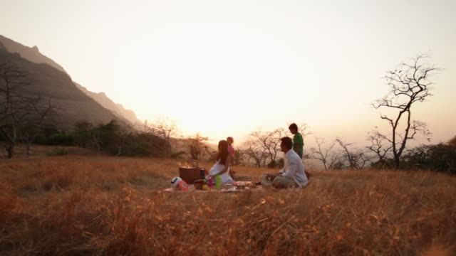 family enjoying picnic at hill station - enjoyment stock videos & royalty-free footage