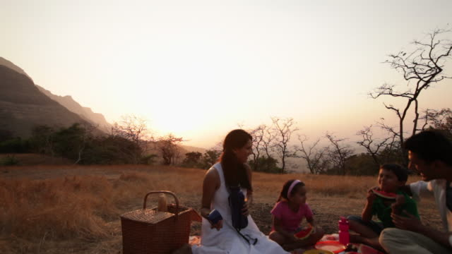 Family enjoying picnic at hill station