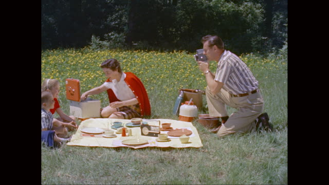 vidéos et rushes de ws family enjoying picnic in park / united states - pique nique