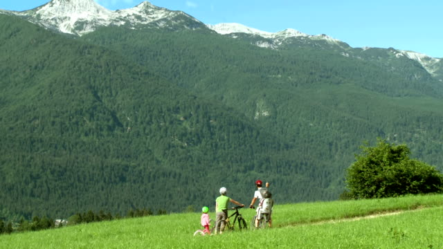 hd: family enjoying the mountain view - julian alps stock videos and b-roll footage