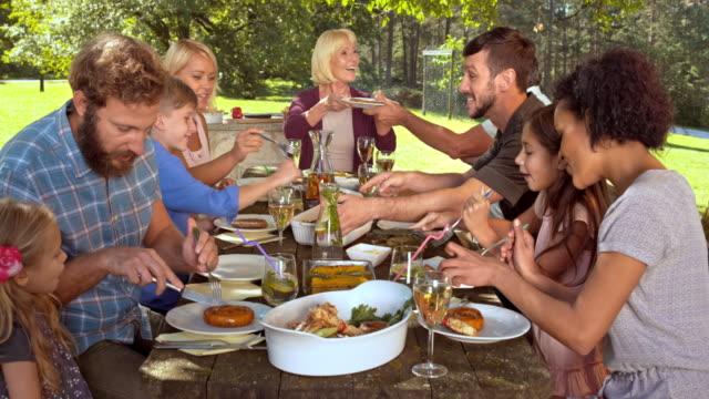 DS familj gästerna njuter av maten grill vid bordet