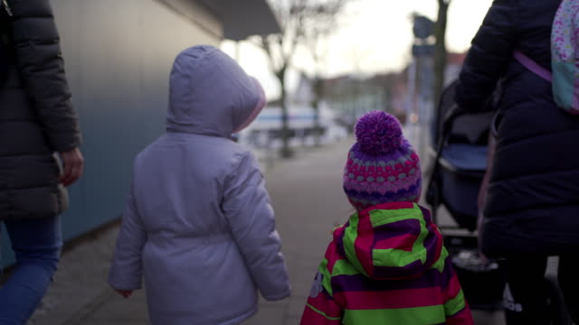 family enjoying winter walk and exploring beautiful stralsund - rucksack stock videos & royalty-free footage