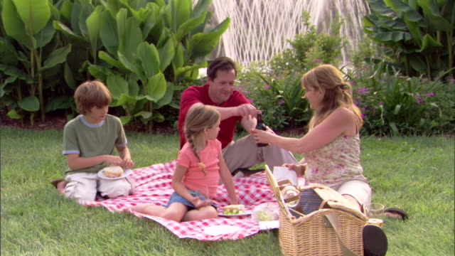 stockvideo's en b-roll-footage met a family enjoys a picnic near a fountain. - mid volwassen vrouw