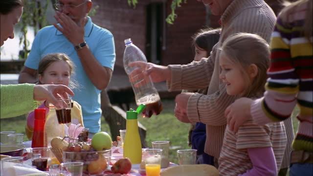vídeos y material grabado en eventos de stock de a family enjoys an outdoor barbecue. - reunión evento social