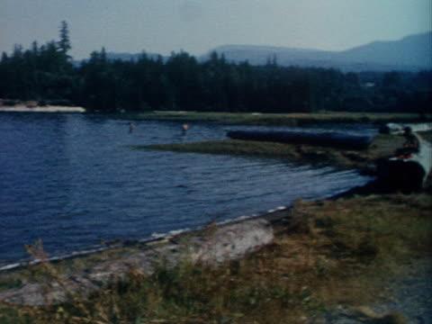 a family enjoys the day on a lake shore. - riva del lago video stock e b–roll