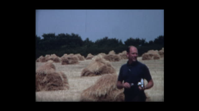 1967 family explores field of hay - haystack stock videos & royalty-free footage