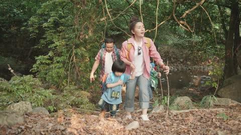 vídeos y material grabado en eventos de stock de familia explorando bosque en ruta de senderismo - actividad al aire libre