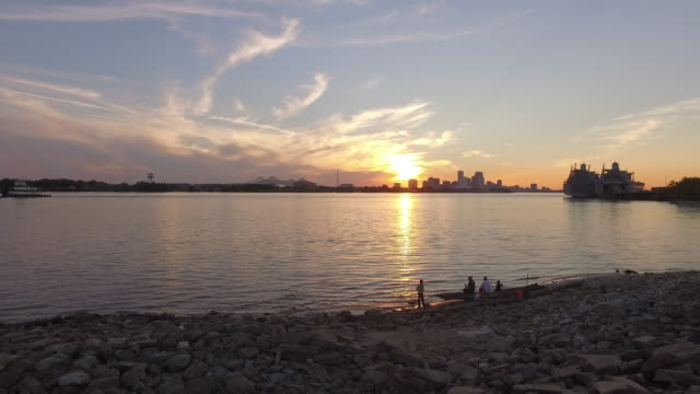 family fishing in new orleans - levee stock videos & royalty-free footage