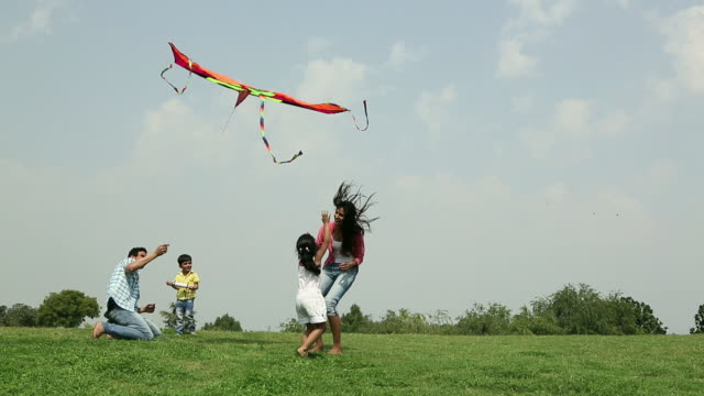 vídeos de stock e filmes b-roll de family flying kite in the park, delhi, india - parque público