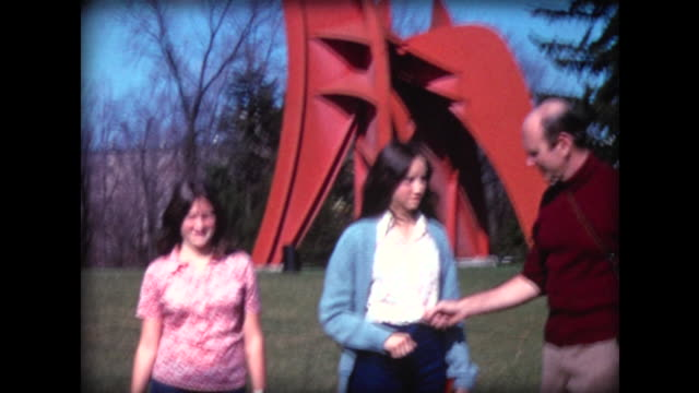 1974 family fooling around in front of calder sculpture - self defense stock videos and b-roll footage