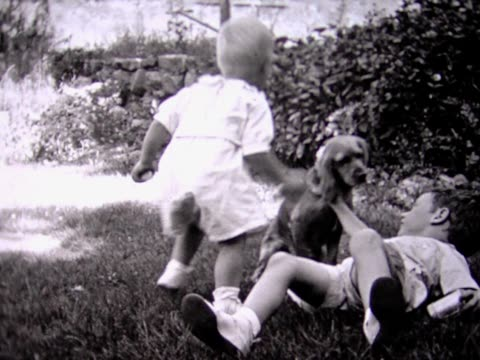 1935 family gets new dog - genderblend stock videos & royalty-free footage