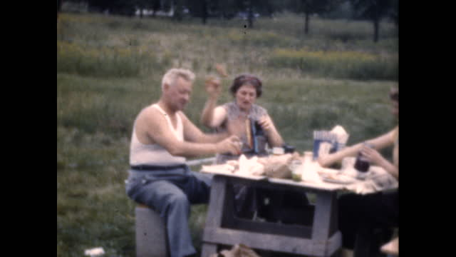 vidéos et rushes de family has cokes and hotdogs on picnic table in large open yard; they laugh and try to feed each other - classe ouvrière