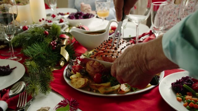 family having christmas dinner with glazed holiday ham with cloves, vegetables, minced pies and eggnog orange trifle - trifle dessert stock videos and b-roll footage