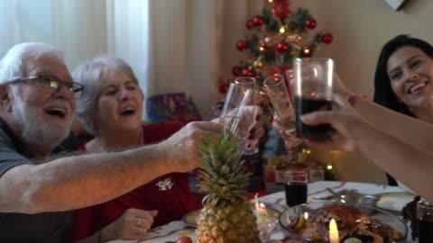 vídeos de stock e filmes b-roll de family having dinner together celebrating christmas time - aspirations