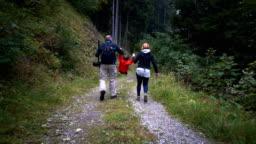 Family having fun hiking