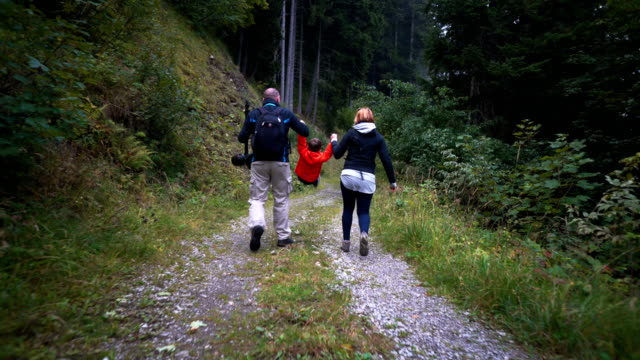 family having fun hiking - three people stock videos & royalty-free footage