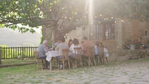vídeos y material grabado en eventos de stock de familia almorzando en la mesa de comedor en el jardín - plato de comida