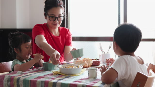 family having lunch at home - gratin stock videos & royalty-free footage