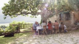 Family having lunch by tree outside house in yard
